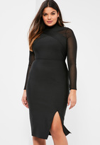 Missguided Plus Size Exclusive Black Premium Bandage Mesh Panel Dress