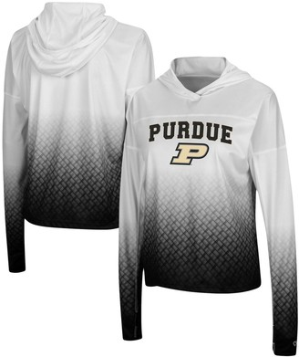 Colosseum Women's White/Black Purdue Boilermakers Magic Ombre Hoodie Long Sleeve T-Shirt