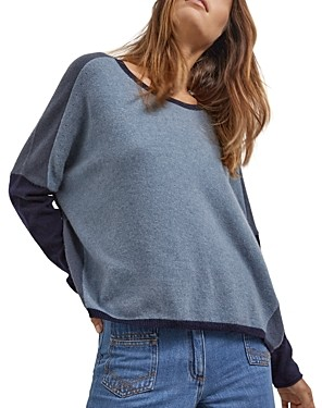Gerard Darel Domitille Oversized Two Tone Cashmere Sweater
