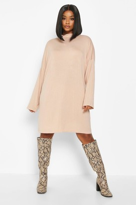 boohoo Plus High Neck Drop Shoulder Sleeved T-Shirt Dress