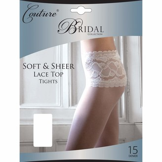 """Couture Womens/Ladies Bridal Soft & Sheer Lace Waist Tights (1 Pair) (Medium (5ft-5ft8"""")) (White)"""