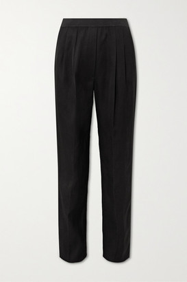 LOULOU STUDIO Takaroa Pleated Twill Straight-leg Pants - Black
