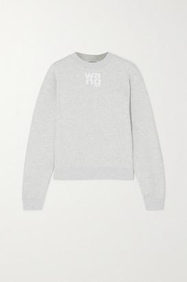 Alexander Wang Printed Melange Cotton-blend Jersey Sweatshirt - Light gray