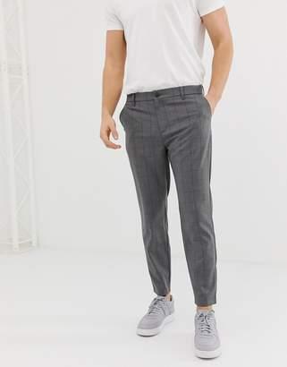 Bershka skinny check trousers in grey