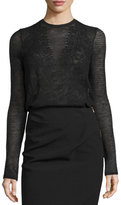 Lanvin Long-Sleeve Mesh Lace Mock-Neck Top