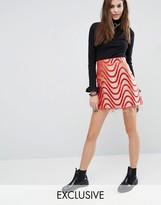 Reclaimed Vintage Raw Hem Mini Skirt In Brocade