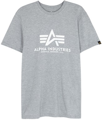 Alpha Industries Grey Logo-print Cotton T-shirt