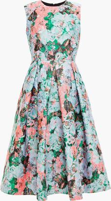 Erdem Indra Pleated Metallic Floral-jacquard Dress