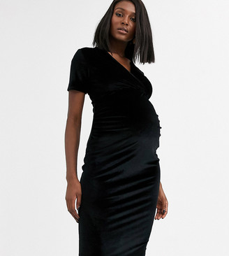 Blume Maternity exclusive velvet wrap front stretch midi dress in black