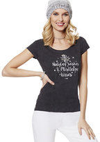 New York & Co. Lounge - Holiday Wishes & Mistletoe Kisses Graphic Logo Tee