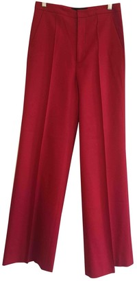 Catherine Malandrino Red Wool Trousers for Women