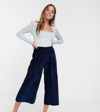 ASOS DESIGN Petite velvet plisse culotte pants