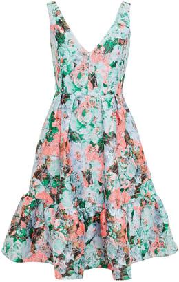 Erdem Gaby Pleated Metallic Floral-jacquard Dress
