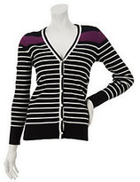 As Is Denim & Co. Long Sleeve V-Neck Stripe Cardigan