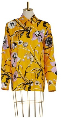 Emilio Pucci Embroidered Silk Pajama Shirt