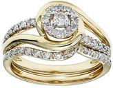 Cherish Always 10k Gold 1/3 Carat T.W. Certified Diamond Halo Engagement Ring Set