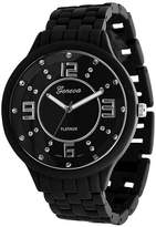 Geneva Platinum Men's Rhinestone Accent Soft-coated Link Watch
