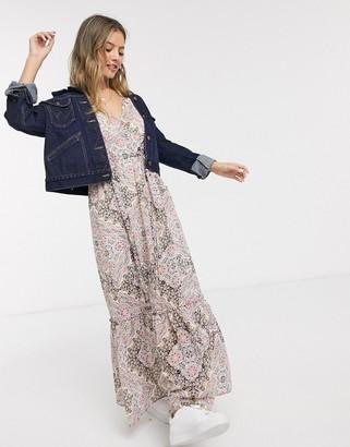 Miss Selfridge v-neck puff sleeve midi dress in pink paisley print