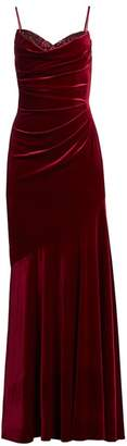 Theia Ruched Velvet Gown
