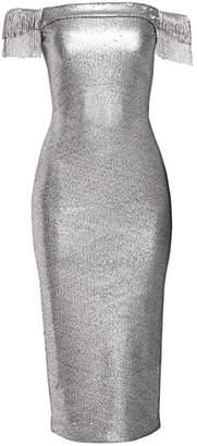 Pamella Roland Off-The-Shoulder Fringe Sleeve Sequin Midi Dress