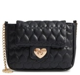 Capelli of New York Girl's Quilted Heart Shoulder Bag - Black
