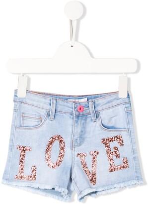 Billieblush Crystal-Embellished Denim Shorts