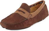 Neiman Marcus Rocky Point Nubuck Driver, Brown/Tan