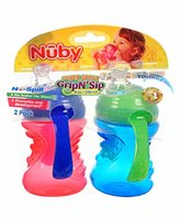 Nuby Grip N Sip Cup with Handles Neutral- 2 Pack - 8 Ounce (Colors/Styles Vary)