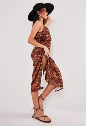 Missguided Brown Tortoiseshell Strappy Midi Slip Dress