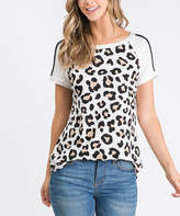 Cool Melon Women's Tee Shirts Taupe - Taupe & Ivory Leopard Stripe-Sleeve Raglan Tee - Women & Plus