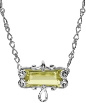 Carolyn Pollack Lemon Quartz Faceted Rectangle Necklace in Sterling Silver
