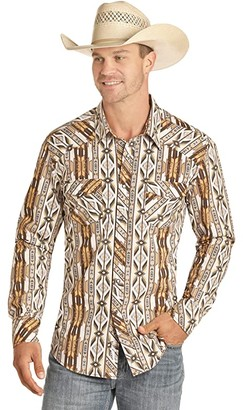 Rock and Roll Cowboy Print Long Sleeve Snap B2S4064 (Brown) Men's Clothing