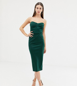 Asos Tall DESIGN Tall seamed bandeau midi bodycon dress-Green