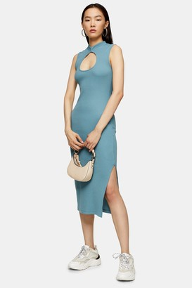 Topshop Womens Blue Midi Cut Out Dress - Blue