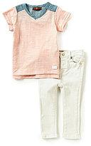 7 For All Mankind Baby Girls 12-24 Months Slub Jersey Tunic & Denim Jeans Set