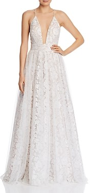 Aidan Mattox Embroidered Mesh Gown - 100% Exclusive