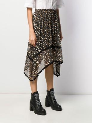 See by Chloe velvet-flocked floral-print skirt