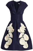Oscar de la Renta Floral applique Silk Fit-&-Flare Dress