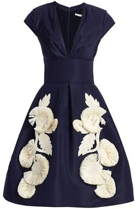 Oscar de la Renta Floral applique Silk Fit-&-Flare Dress
