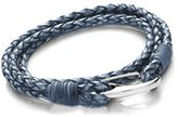 """Tribal Steel 3MM Double Wrap 2-Strand Plaited/Braided Leather Bracelet With Stainless Steel Shrimp Clasp - Womens Large/Unisex (20cm/7.9"""" Inch)"""
