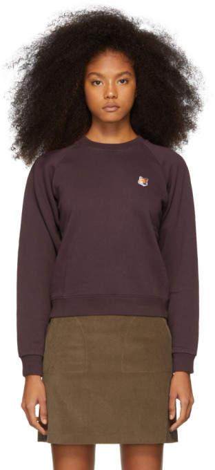 MAISON KITSUNÉ Purple Fox Head Patch Sweatshirt