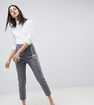 Asos Design DESIGN cigarette pants with lace up front-Gray