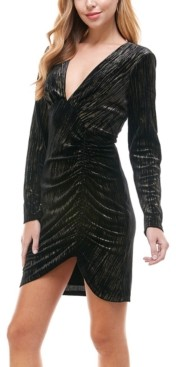City Studios Juniors' Ruched Metallic Bodycon Dress