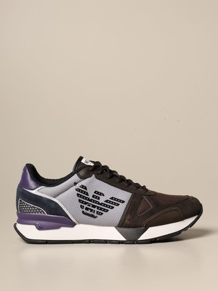 Emporio Armani Sneakers In Suede And Mesh