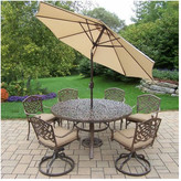 Oakland Living Mississippi 7 Piece Dining Set with Cushions Umbrella