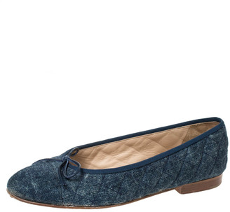 Chanel Blue Quilted Denim 'CC' Bow Ballet Flats Size 38