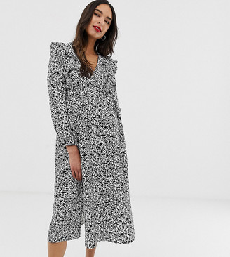 Glamorous Bloom long sleeve midi dress with ruffle detail in ditsy floral