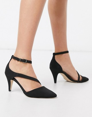 Call it SPRING aerracia mid heel cross strap shoes in black