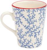 N. Blue Pheasant Sienna Coral Mugs, Set of 4