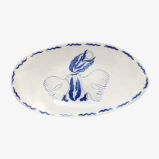 Marie Yaé Suemastu Marie Yae Suemastu - Blue and White Porcelain Two Bird Painted Oval Plate - porcelain | white and blue